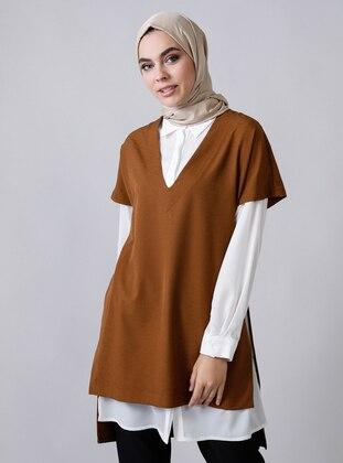 Ecru - Brown - Unlined - Suit