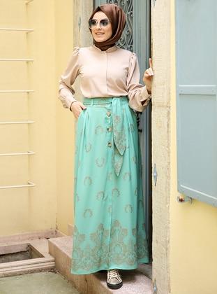 Mint - Multi - Fully Lined - Skirt