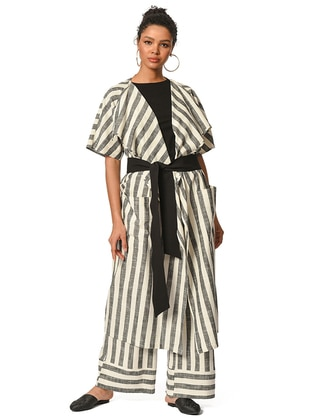 Ecru - Stripe - Unlined - Cotton - Linen - Abaya