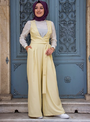 Yellow - Fully Lined - Jumpsuit