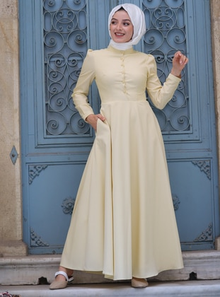 Yellow - Crew neck - Fully Lined - Dress