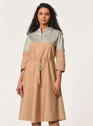 Beige - Crew neck - Viscose - Dress