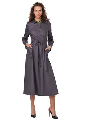 Gray - Round Collar - Viscose - Dress