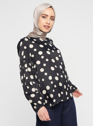 Navy Blue -  - Polka Dot - Crew neck - Blouses