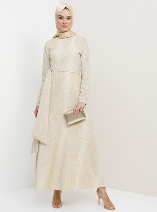 Gold - Unlined - Crew neck - Muslim Evening Dress - Tavin