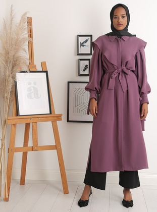 Purple - Unlined - Crew neck - Crepe - Trench Coat