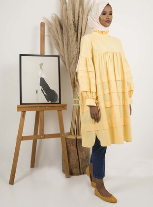 Yellow - Crew neck - Cotton - Tunic