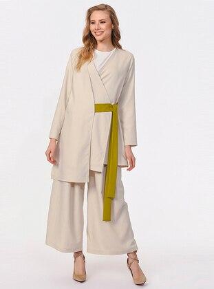 Beige - Unlined - V neck Collar - Cotton - Abaya