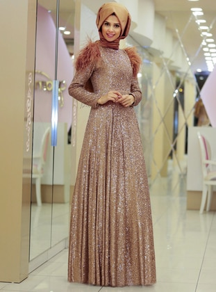- Fully Lined - Crew neck - Muslim Evening Dress