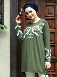 Khaki - Crew neck - Cotton - Acrylic - Tunic