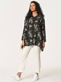 Black - Floral - Point Collar - Blouses