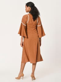 Brown - Polka Dot - Crew neck - Unlined - Viscose - Dress