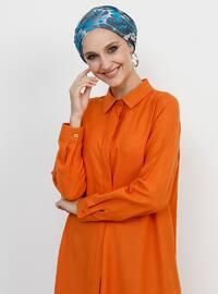Orange - Point Collar - Cotton - Tunic