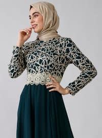 Green - Emerald - Fully Lined - Crew neck -  - Muslim Evening Dress
