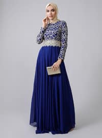 Gold - Saxe - Fully Lined - Crew neck -  - Muslim Evening Dress