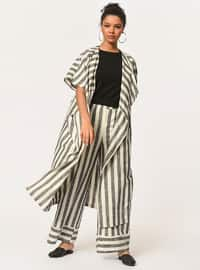 Ecru - Stripe - Unlined - Cotton - Linen - Abaya