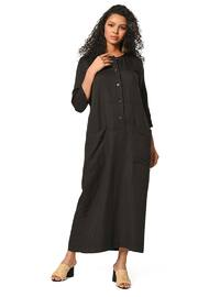 Black - Crew neck - Linen - Dress