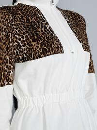 Ecru - Leopard - Crew neck - Tunic
