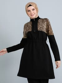 Black - Leopard - Crew neck - Tunic