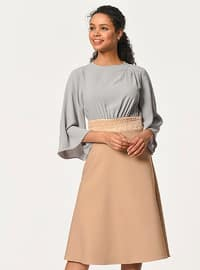 Beige - Crew neck - Unlined - Cotton - Dress