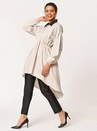 Beige - Point Collar - Cotton - Blouses