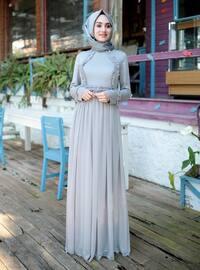 Gray - Fully Lined - Crew neck - Muslim Evening Dress