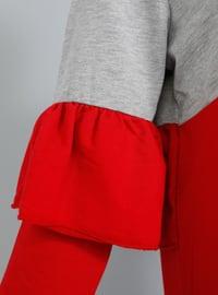 Gray - Red - Crew neck -  - Tunic