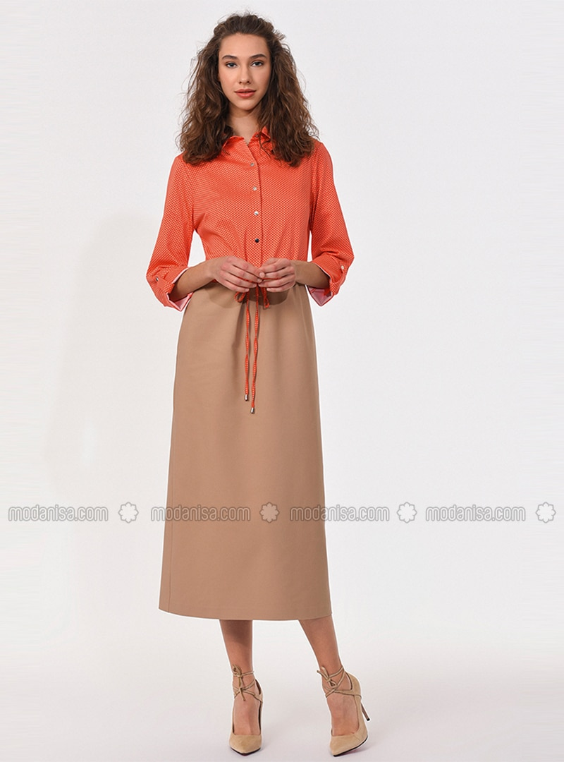 Beige - Coral - Point Collar - Unlined - Viscose - Dress