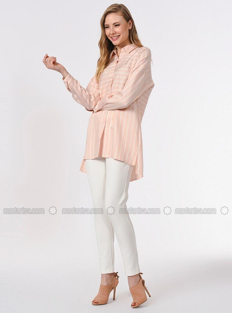 Pink - Stripe - Point Collar - Viscose - Blouses