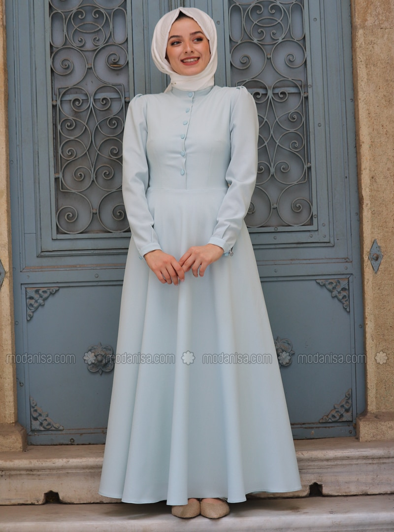 Sea-green - Crew neck - Fully Lined - Dress