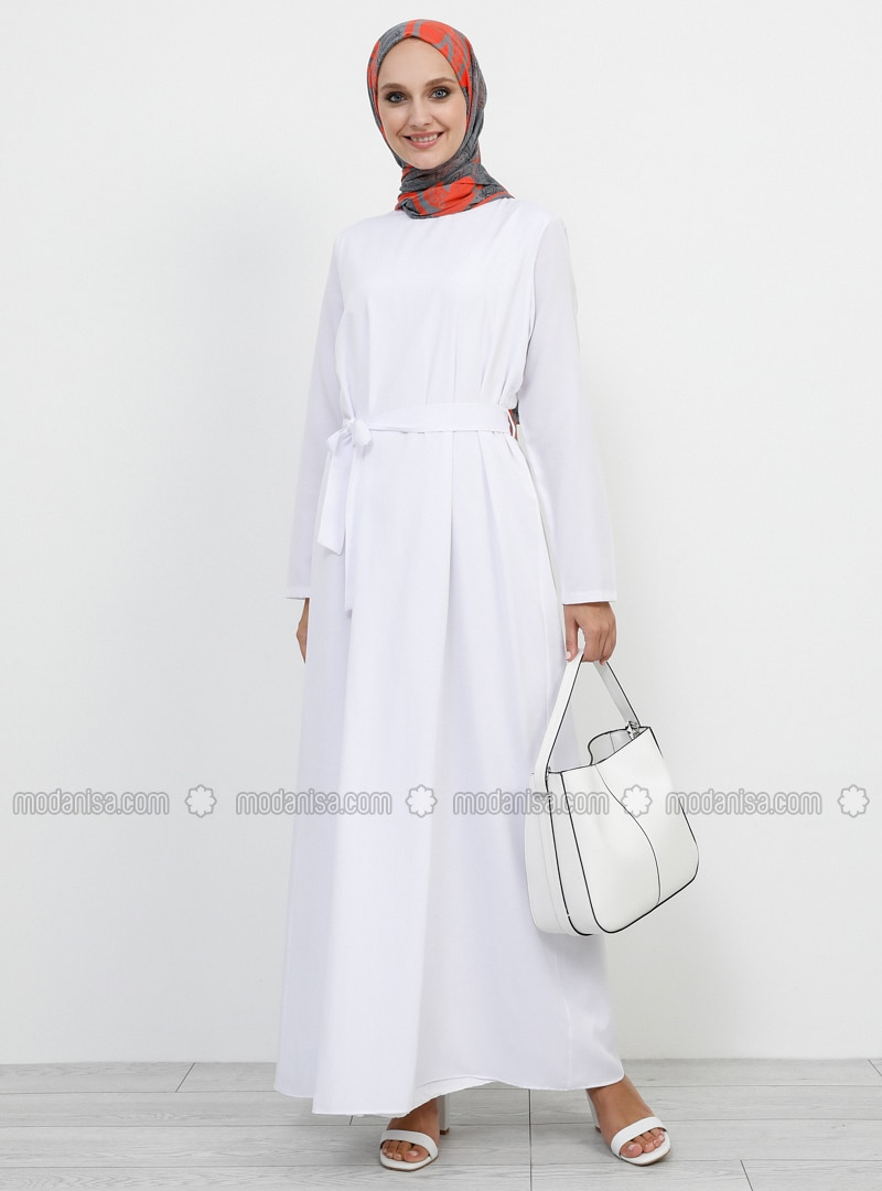White - Ecru - Crew neck - Fully Lined -  - Dress