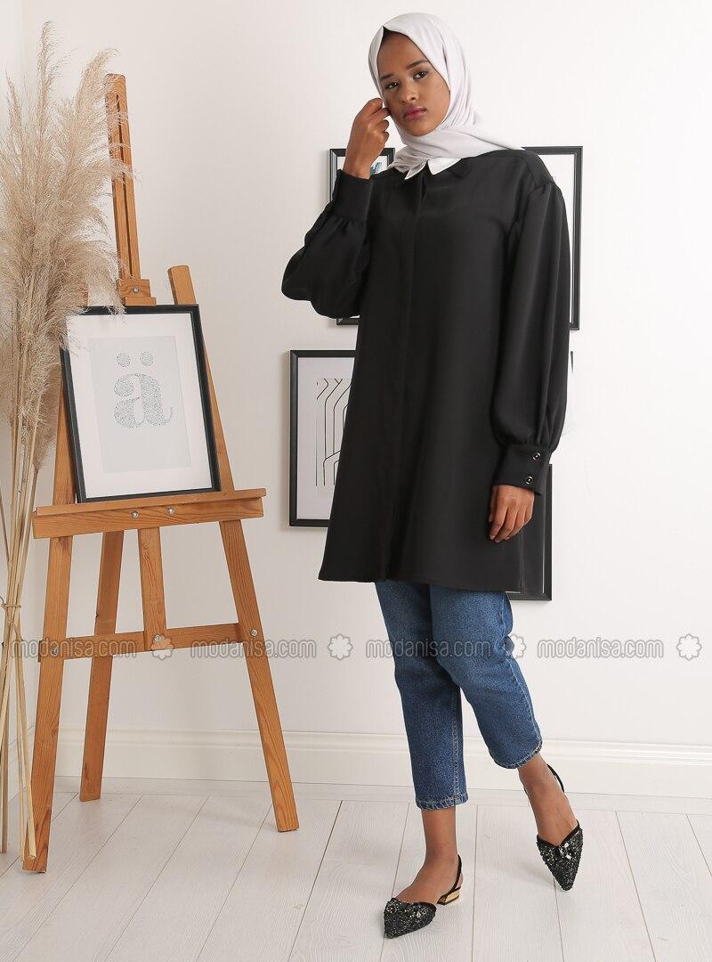 Black - Polo - Crepe - Tunic