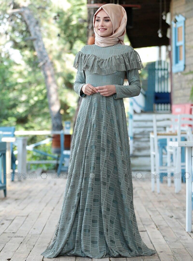 ff30c781f1030 Vintage Dantel Detaylı Abiye Elbise - Çağla Yeşil