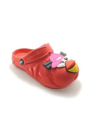 Red - Girls` Slippers - Akınal bella