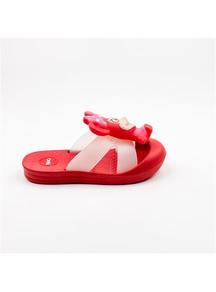 Red - Girls` Slippers - Akınal bella