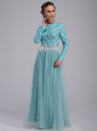 Turquoise - Fully Lined - Crew neck - Muslim Evening Dress