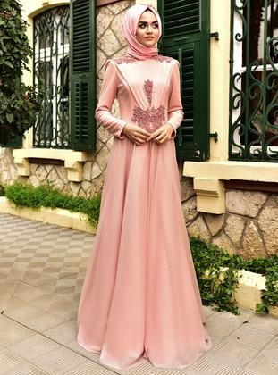 Salmon - Fully Lined - Crew neck - Viscose - Muslim Evening Dress