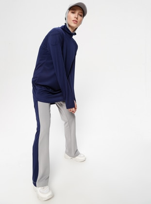 Navy Blue - Gray - Tracksuit Bottom - FD SPORTS
