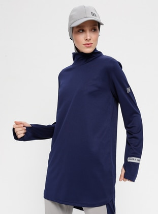 Navy Blue - Polo neck - Tracksuit Top