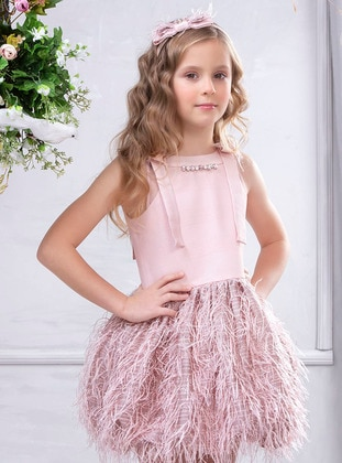 Crew neck - Fully Lined - Dusty Rose - Girls` Dress