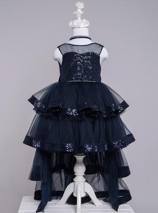 Crew neck - Navy Blue - Girls` Dress