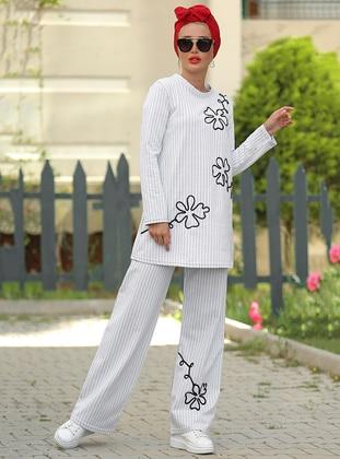 White - Stripe - Unlined - Cotton - Suit