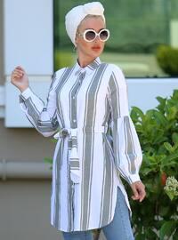 Khaki - Stripe - Point Collar - Cotton - Tunic