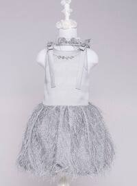 Crew neck - Fully Lined - Gray - Girls` Dress