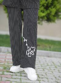 Black - Stripe - Unlined - Cotton - Suit