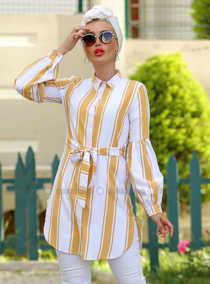 Mustard - Stripe - Point Collar - Cotton - Tunic