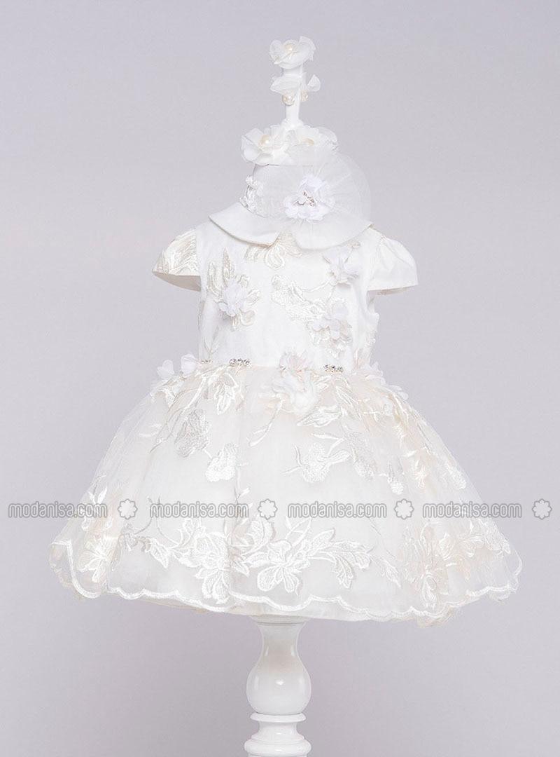 Multi - Round Collar - Fully Lined - Ecru - Girls` Dress