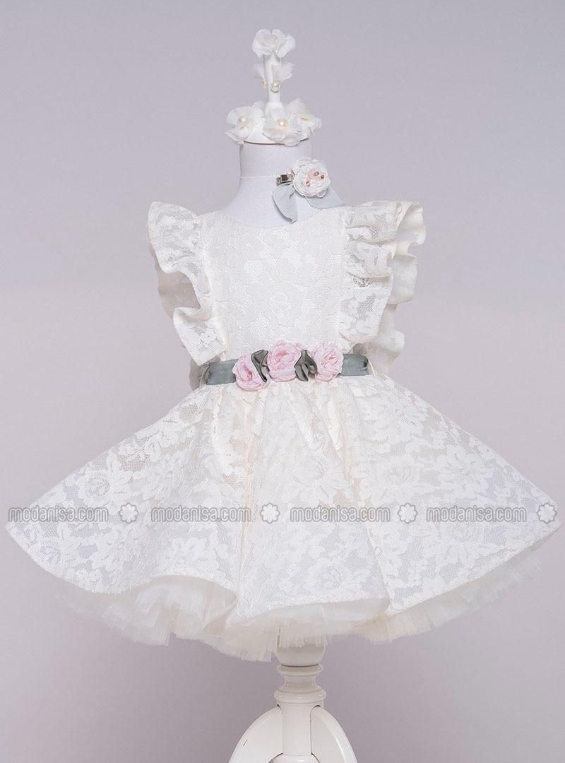 Multi - Crew neck - Cotton - Fully Lined - Ecru - Girls` Dress