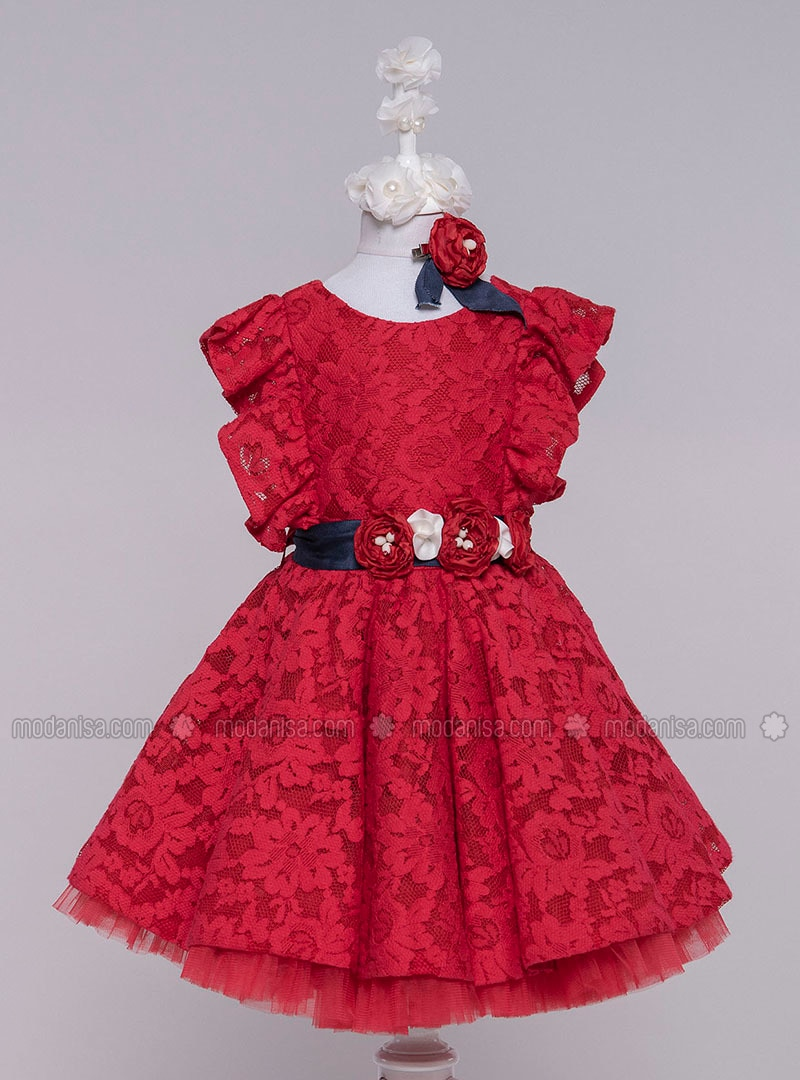 Multi - Crew neck - Cotton - Fully Lined - Red - Girls` Dress