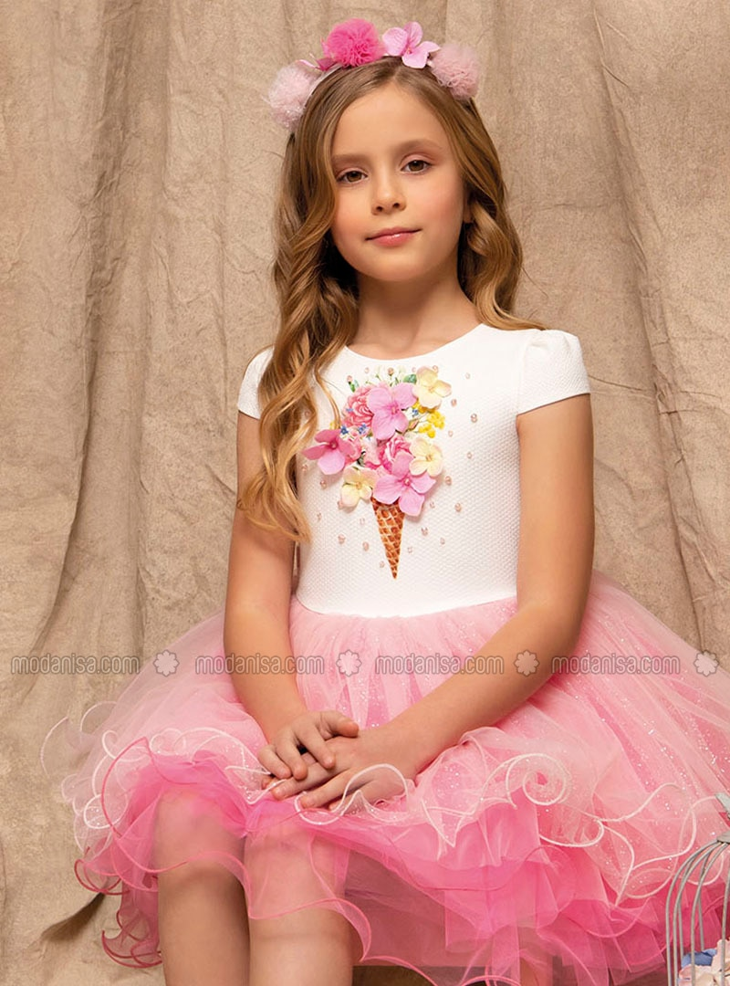 Multi - Crew neck - Fully Lined - Pink - Girls` Dress